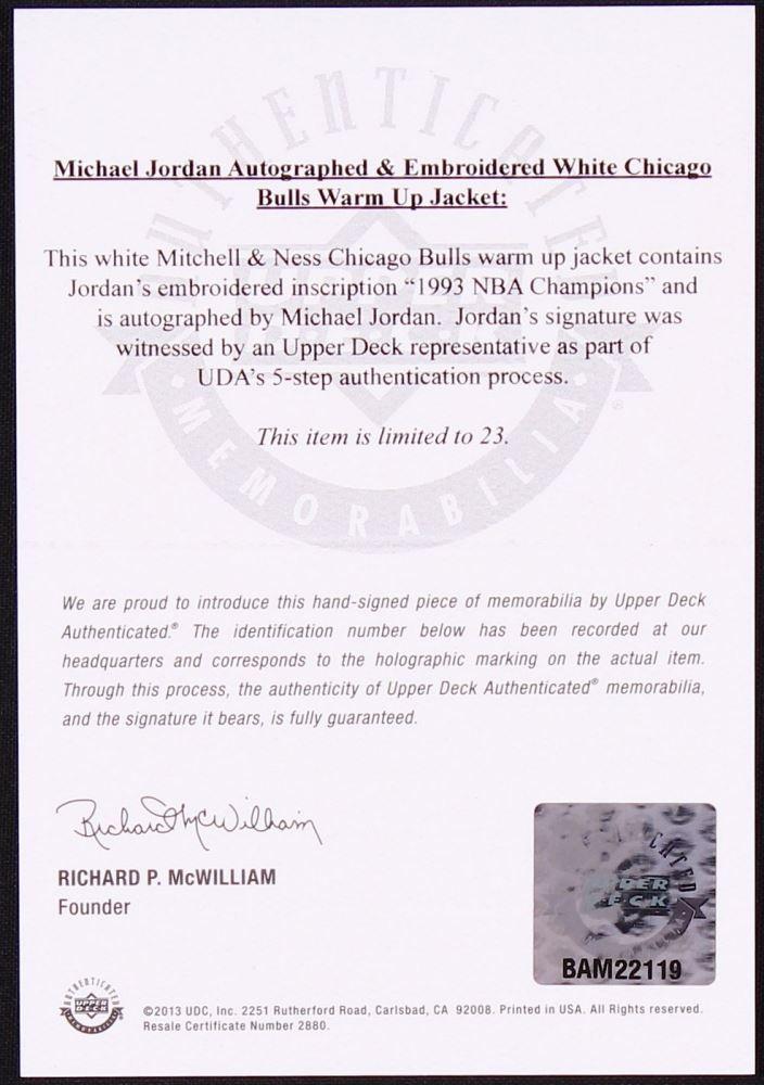 008b734e244 ... Image 5 : Michael Jordan Signed LE Authentic Mitchell & Ness Chicago  Bulls Warm Up Jacket
