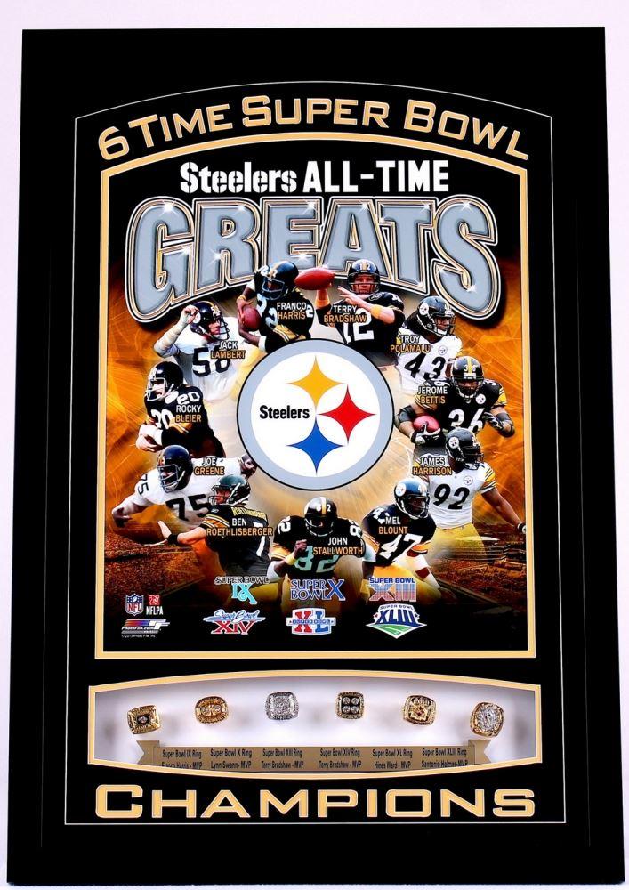 90557664b4b Image 1   Pittsburgh Steelers 22x32 Custom Framed 6x Super Bowl  Championship Ring Display ...