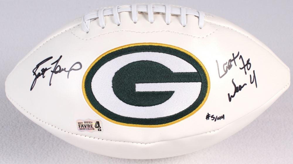Brett Favre Signed LE Packers Logo Football Inscribed
