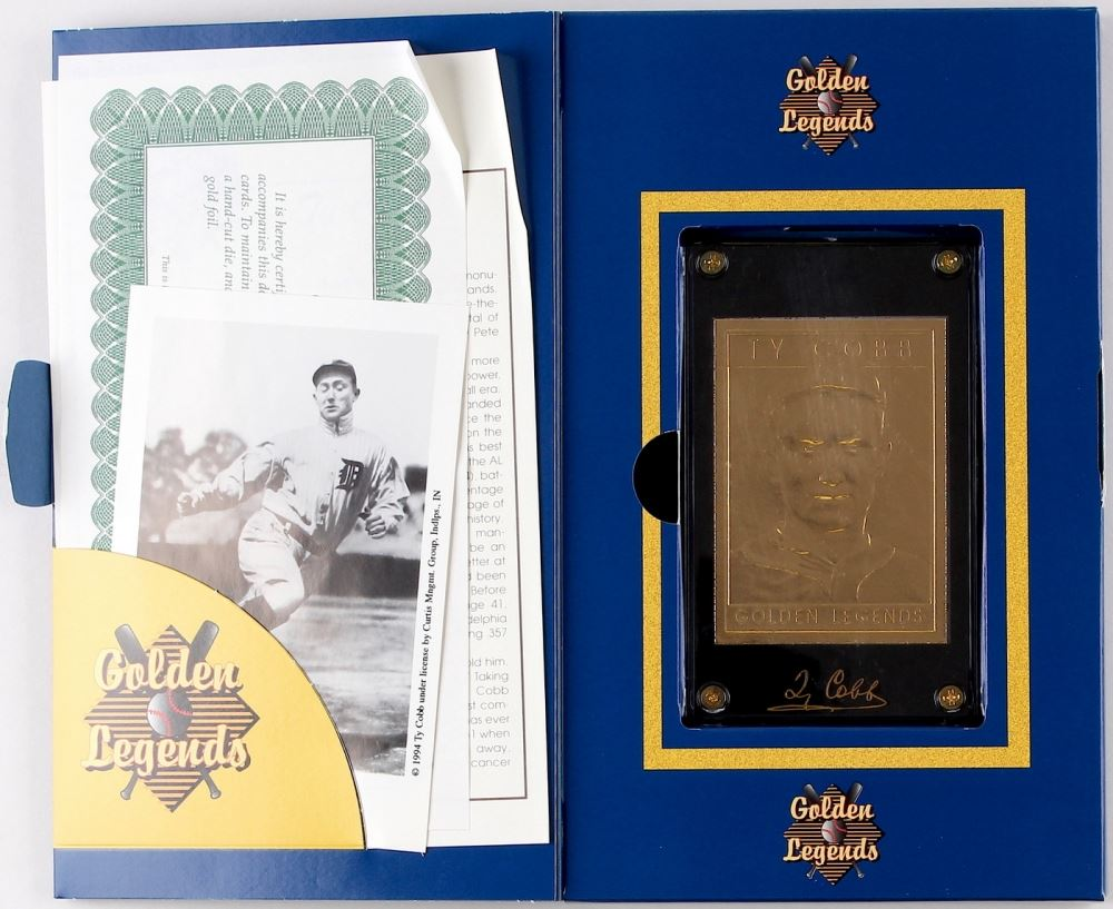 Ty Cobb Golden Legends Of Baseball 22 Karat Gold Baseball Card