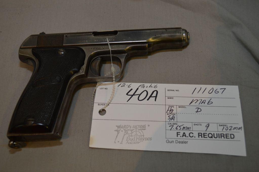 MAB Model D  7 65 MM cal 9 Shot Semi Auto Pistol w/ 102