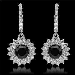 14k Gold 4.30ct Fancy Color Diamond & 7.19ct Diamond Earrings