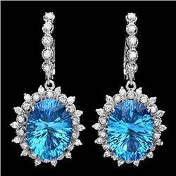 14k Gold 21.50ct Topaz 1.50ct Diamond Earrings