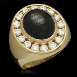 14K Gold 12.88ct Sapphire 1.65ct Diamond Ring