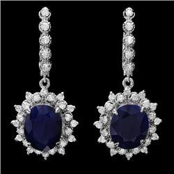 14k Gold 12ct Sapphire 1.70ct Diamond Earrings