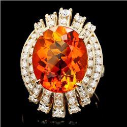 14k Gold 9.50ct Citrine 1.90ct Diamond Ring