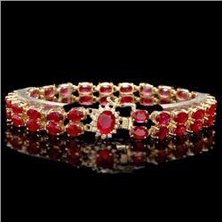 14k Yellow Gold 31ct Ruby 0.30ct Diamond Bracelet