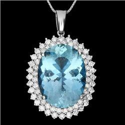 14k Gold 20ct Aquamarine 2.2ct Diamond Pendant