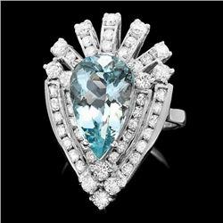 14k Gold 4.60ct Aquamarine 1.80ct Diamond Ring