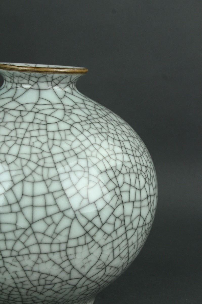2 Pc Guan Type Crackle Porcelain Vases Guan MK