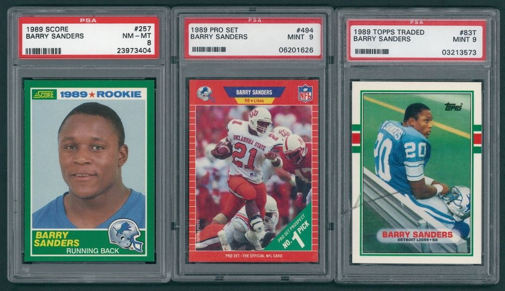 Lot Of 3 Psa Graded Barry Sanders Rookie Football Cards