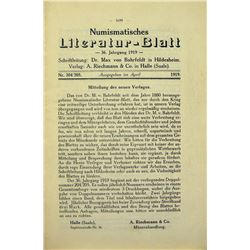 Rare Issues of the Numismatisches Literatur-Blatt