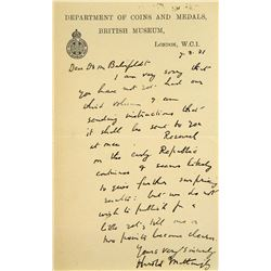 Handwritten 1931 Letter from Mattingly to Bahrfeldt
