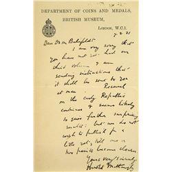 Handwritten 1931 Letter from Mattingly to Bahrfeldt