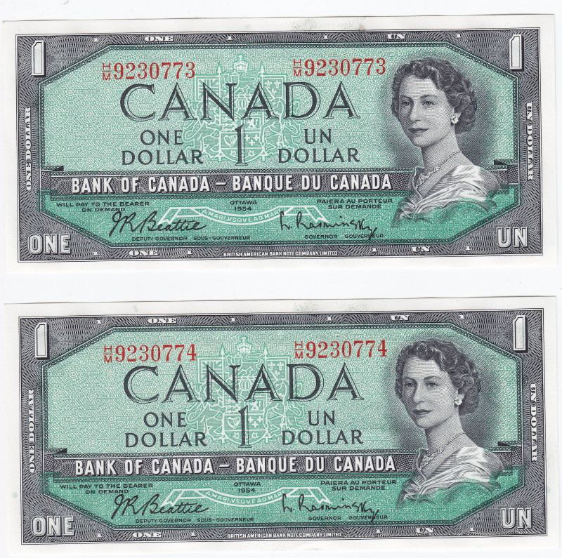 1954 Bank Of Canada $1 One Dollar Bank Notes - Modified - H/M Serial