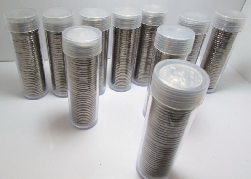 10 Rolls Of 1965 Canadian 5-Cent Nickel Coins - Directly From A Bank Bag