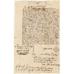 Signed Twice by Court Clerk of the Salem Witch Trials.