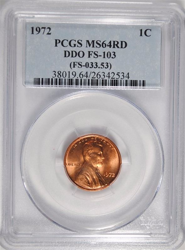 1972 Lincoln Cent DDO FS-103 MS64RD PCGS