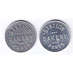 Ontario Trade Tokens, Brantford County - Lot of 2 Paris, Ont bread tokens