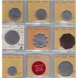 Ontario Trade Tokens - Lot of 9 Bruce County due bills