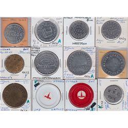 Ontario Trade Tokens, Carleton County - Lot of 12 Miscellaneous Ottawa Tokens