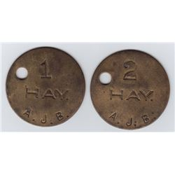 Ontario Trade Tokens, Elgin County - Lot of 2 Rodney, Ont. livery tokens