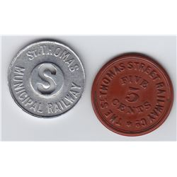Ontario Trade Tokens, Elgin County - Lot of 2 St Thomas transportation tokens