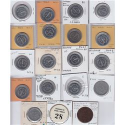 Ontario Trade Tokens, Hastings County - Lot of 19 Belleville Tokens