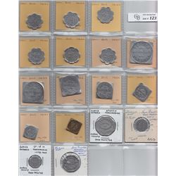 Ontario Trade Tokens, Huron County - Lot of 17 Zurich trade tokens