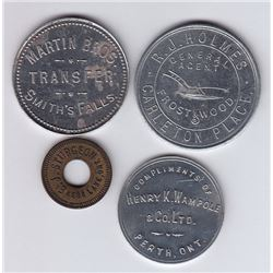 Ontario Trade Tokens, Lanark County - Lot of 4 Tokens