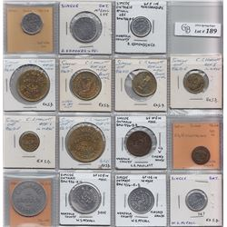 Ontario Trade Tokens, Norfolk County - Lot of 15 Simcoe trade tokens