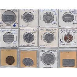Ontario Trade Tokens - Lot of 12 Northern Ontario bread tokens