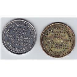 Ontario Trade Tokens, Waterloo County - Lot of 2 Baden trade tokens