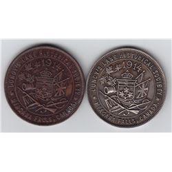 Ontario Trade Tokens, Wellend County - Lot of 2 Niagara Falls medals