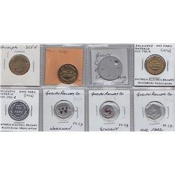 Ontario Trade Tokens - Lot of 8 Wellington County trade tokens