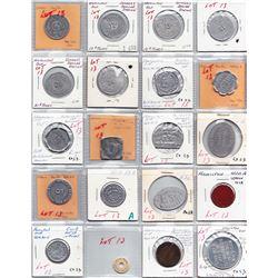 Ontario Trade Tokens - Lot of 20 Hamilton trade tokens.