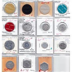 Ontario Trade Tokens - Lot of 15 Hamilton trade Tokens.