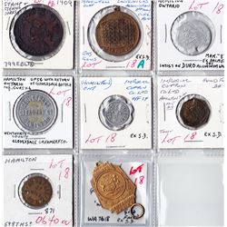 Ontario Trade Tokens - Lot of 8 Hamilton medals and trade tokens.