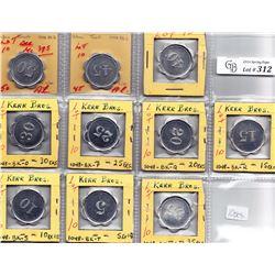 Ontario Trade Tokens - Complete denomination set of Kerr Bros. Toronto tokens