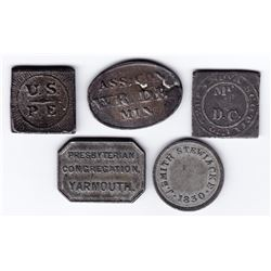 Nova Scotia Communion Tokens - Lot of 5