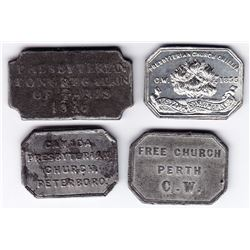 Canada West Communion Tokens - Lot of 4