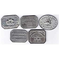 Canada West Communion Tokens - Lot of 5