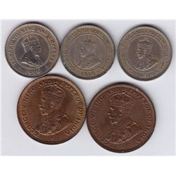 World Coins - British Honduras - Lot of 5
