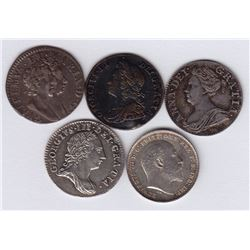 World Coins - Great Britain - Lot of 5 Three Pence