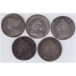 World Coins - Great Britain - Lot of 5 Shillings