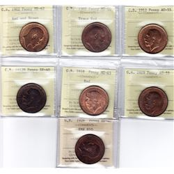 World Coins - Graded Great Britain Pennies - Lot of 7
