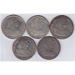 World Coins - Mexico, Lot of 5, 8 Reales