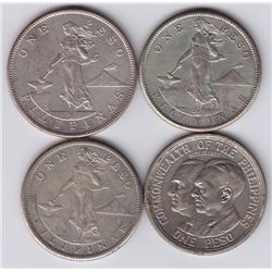 World Coins - Philippines, Lot of 4 Peso