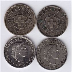 World Coins - Switzerland - Lot of 4 Five Rappen