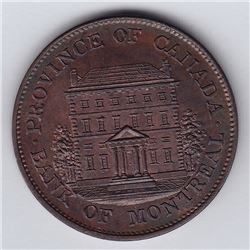 Br 527. Bank of Montreal Halfpenny, 1844. Heavy trees.